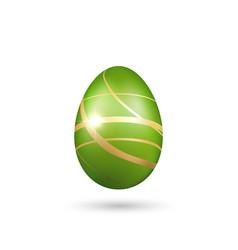 easter egg 3d icon green gold egg isolated white vector image