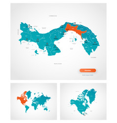 editable template map panama with marks vector image