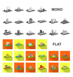 factory and plant flat icons in set collection for vector image