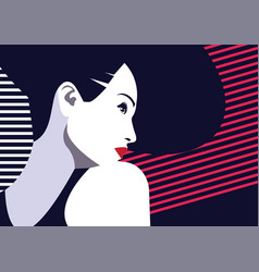 fashion and stylish woman in style pop art vector image