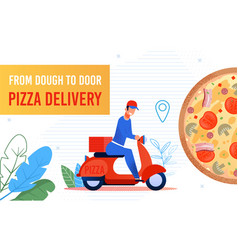 fast food pizza delivery to door courier poster vector image
