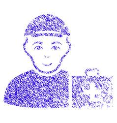 First aid man icon grunge watermark vector