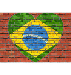 flag of the brazil in a heart on a brick wall vector image