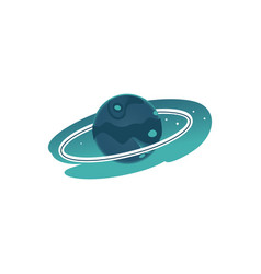flat green planet with rings vector image