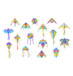 flying kites colorful bird butterfly and bat vector image