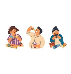 food addiction flat set vector image