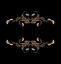 Frame gold floral patterns vector