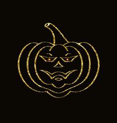 golden glittering pumpkin vector image