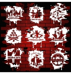 Graffiti White Emblems With Transparent Elements vector