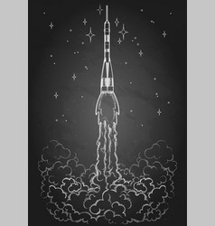 Graphic launching rocket vector