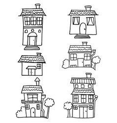 Hand draw of house set style vector