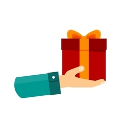 Hand with gift vector
