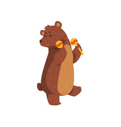 Happy brown bear dancing with maracas cartoon vector