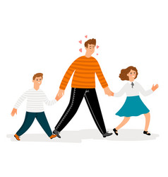 happy father with daughter and son walk vector image