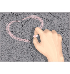 Heart on asphalt vector