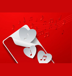 Hearts Cut from White Paper on Red Music vector image