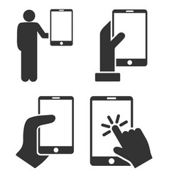 Hold smartphone with hand flat icon set vector