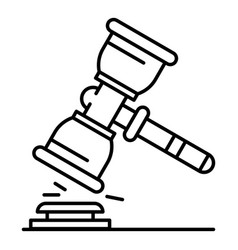 judge hammer icon outline style vector image