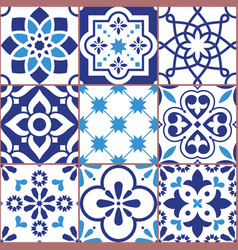 Lisbon tiles design azulejo pattern vector