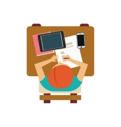 Male Student With Tablet And Smartphone From Above vector