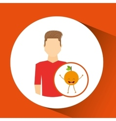 Man with cartoon orange fruit vector