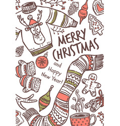 merry christmas greeting card with congratulation vector image