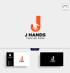 Minimal j letter initial hand logo template icon vector