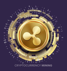 Mining ripple cryptocurrency golden coin vector