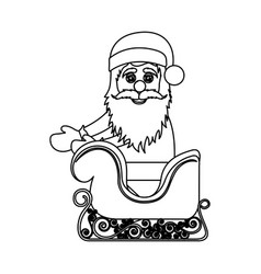 Monochrome contour of santa claus in sleigh vector