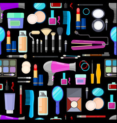 pattern of tools for makeup vector image