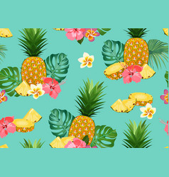 pineapple seamless pattern whole and slice vector image