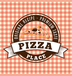 Pizza brown circle and ribbon logo vector