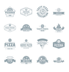 Pizzeria logo icons set simple style vector