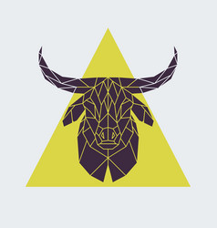 Polygonal buffalo head animal vector