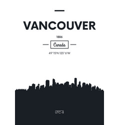 poster city skyline vancouver flat style vector image