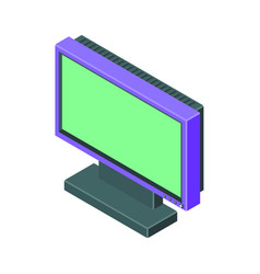 purple monitor in isometry with green screen vector image