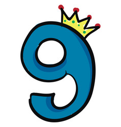 Queen number 9emoji q number or color vector
