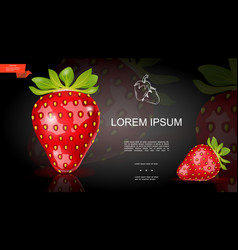 Realistic fresh strawberry template vector
