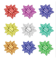 realistic set of multicolored bows isolated on vector image