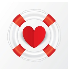 red paper heart in lifebuoy valentines day card vector image