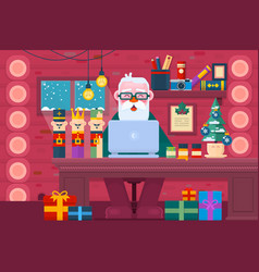 santa claus using a laptopchristmas greeting card vector image
