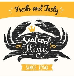 Seafood menu template drawn vector image