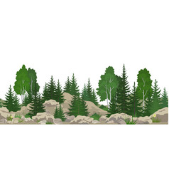 seamless landscape with trees vector image