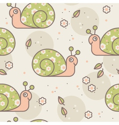 seamless pattern with cute snails vector image