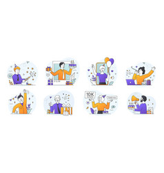 set eight scenes depicting company or blog vector image