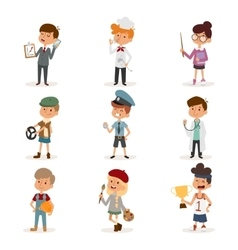 Set of cute cartoon professions kids Painter vector