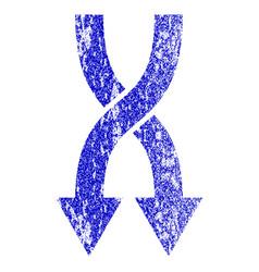 Shuffle arrows down grunge textured icon vector