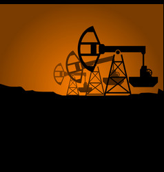 Silhouettes of petroleum pumpjack on sunset vector