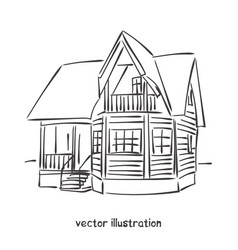 sketch of wooden house vector image