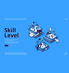 skill level isometric landing page education vector image